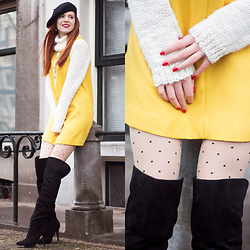 Sonja Vogel - Sacha Black Over Knee Boots, Self Made Yellow Twiggy Dress, H&M Turtle Neck Knit Sweater, From Paris Black Beret - Turtlenecking in my Twiggy Dress