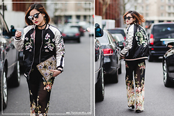 Miu PHAM -  - Floral embroidered bomber