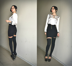 Jane V.I. - Legwear, Black Skirt With High Weist, Heel Platform Shoes, Silk Blouse With Floral Print - Black & White