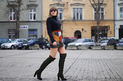 Agata Nika - Zara Black Turtle Neck, Zara Suede Patchwork Skirt, Aldo Khaki Boots - Early spring walk