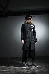 INWON LEE - Byther Black Felt Fedora Hat, Byther Black Patched Overcoat, Guidomaggi Black Glossy Leather Boots - Modern Classic Black Avant Garde Fashsion