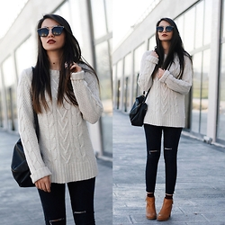 Melike Gül - H&M Sweater, Sheinside Jeans, Pull & Bear Boots, Zerouv Sunglasses - Tan Boots
