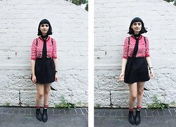 Amelia Goldie - Sheinside Striped Shirt., Asos Black Neck Tie., Happy Socks, Nine West Boots. - Cherry Coloured Funk.