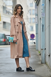 Jovana Radojicic - Frontrowshop Trench Coat, Sheinside Dress, Furla Bag, Choies Oxfords - PASTEL TRENCH COAT