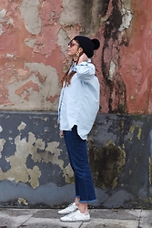Patricia G. - Sandro Beanie, Zara Earrings, Mango Shirt, Zara Jeans, Golden Goose Sneaker - Wineries