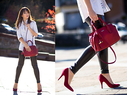 Silver Girl - Dkny Red Handbag, Rebeca Sanver Red Heels, Helmut Lang Leather Leggings, Sacoor White Men's Shirt - PARIS BY MY SIDE
