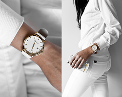 Kristina - Charlize Timepiece, Gramerci Gold Stack Rings, Richmond & Finch White Marble Iphone Case, Parker Smith All White Skinnies - All white