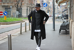 Will Willo - H&M Fedora Hat, Topman Jumper, Vintage Coat, H&M Leather Pants, Adidas Sneakers - LEATHER PANTS