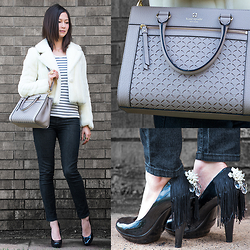 Julie R - Sans Souci White Faux Fur Mini Coat, Kate Spade Satchel, H&M Black And White Striped Tee, Forever 21 Black Skinny Jeans, Nine West Patent Black Pumps - All I Need