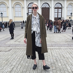 Egor Svetsky - Monki Pants (As A Scarf), Monki Shirt, Monki Jeans, Monki Coat - MBFW RUSSIA