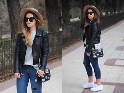 Claudia Villanueva - Asos Hat, Zerouv Sunglasses, Zara Jacket, Bershka T Shirt, Zara Bag, Suiteblanco Jeans, Superga Sneakers - Favorite Basics