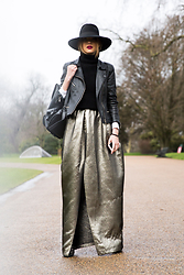 Luana Codreanu - H&M Hat, Diesel Leather Jacket, Claudia Castrase Via Molecule F Skirt, Aldo Backpack - #LFW | Day 4