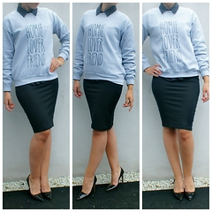 Fashion Statements By Q - Believe The Hype Gray Sweater, Zara Black Blouse, Zara Black Skirt, Prada Black High Heels - Style a gray sweater 4x part 3