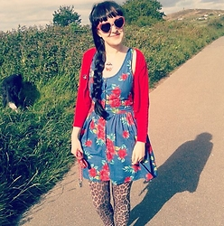 Tamsyn Martin - New Look Blue Floral Button Up Dress, Topshop Natural Leopard Leggings, H&M Red Cropped Cardigan With Black Polka Dots, Little Miss Delicious Vampire Cupcake Necklace, Velvetvolcano 'Flame' Red Rhinestone Encrusted Heart Shaped Sunglasses - Summertime Pattern Extravaganza