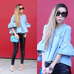 Sasa Zoe - Top, Moto Pants, Bag, Heels, Sunglasses, Earrings - DENIM FRILL