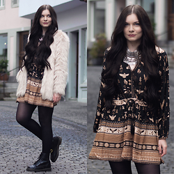 Selina K - Spell Designs Phoenix Playdress, Dr. Martens Black Boots, H&M Faux Fur Coat - SEE CLEAR