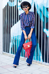 Onyinye Ibeagi - Sheinside Black Fedora, Exclusives Multi Stripe Shirt, Asos Bell Bottom Jeans, Glamorous Grab On Bag - Flare Jeans Outfit