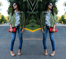 Dulce Part - Jeans, Jacket, Denim Shirt, Nude Heels - Denim over denim