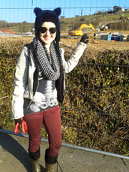 Tamsyn Martin - Velvetvolcano Fuzzy Cat Hat, H&M Monochrome Stripey Snood, H&M Bleached Denim Biker Jacket, H&M Black Hoody, Kreepsville 666 Skeleton Top / Dress, Burgundy Jeans, Florence & Fred Leopard Print Wellington Boots, Black Heart Shaped Sunnies, Kids Thermal Gloves - Walking the dogs, dressed as a cat..