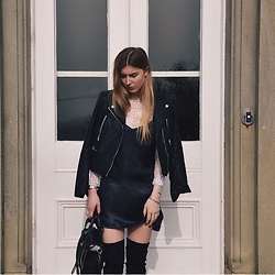 Catherine - Zara Leather Jacket, Ego Knee High Boots, 3.1 Phillip Lim Bag - Satin Slip Dress