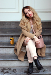 Lilia - Mango Camel Coat, River Island Lace Up Top, Alexander Wang Mini Emile Bag, Alexander Wang Gabi Boots, Missguided Cigarette Pants - Blush Nudes