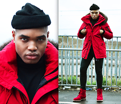 Omiri Thomas - Topman Beanie Hat, Topman Roll Neck, Superdry Parka Jacket, Topman Skinny Jeans, Timberland Boots - Red Velvet