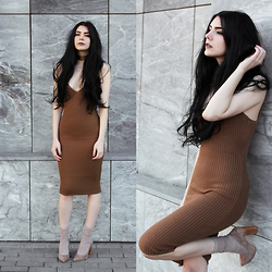 CLAUDIA Holynights - Sheinside Chunky Ribbed Dress, Dropp Suede Pointy Shoes - Earthy shades