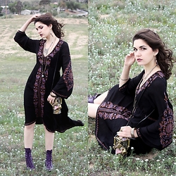 Lexi L - Free People Embriodered Dress, Resale Metal Crystal Bag, Ebay Purple Roper Boots - Crystal Ball