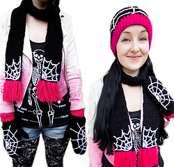 Tamsyn Martin - Velvetvolcano Spider Web Beanie, Velvetvolcano Spider Web Mittens, Velvetvolcano Spider Web Scarf, Lipgloss & Black Ombre White To Pink Gradient Biker Jacket, Supre Anatomical Skeleton Diagram Vest, Sugarpill Bulletproof Eyeshadow, Topshop Skull Leggings, River Island Denim Hot Pants - Sorry I'm not home right now, I'm walking into spiderwebs