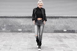 Krist Elle - Gray Ripped Knee Skinny Jeans, Black Womens Bomber Jacket 2016, Two Piece Set Top, Rick Owens Womens Sneakers - Outfit Idea with Bomber Jacket
