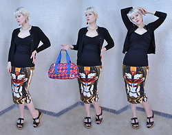 Suzi West - Rocket Studio Art Abstract Earrings, Holly Gordon's Pro Wardrobe Necklace, J. Crew Cardigan, Moa Ruched Tank Top, Harajuku Lovers Logo Purse, Givenchy Ss14 Masai Pencil Skirt, Guess Wedge Sandals - 10 March 2016
