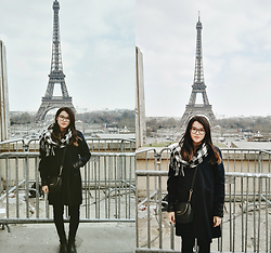 Grace J - Thrifted Coat, Michael Kors Crossbag, Forever 21 Checked Scarf - Paris 14/03
