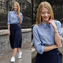 Vivienn Nagy - & Other Stories Shirt, & Other Stories Skirt, Adidas Shoes, Klarf Watch - & Other Stories