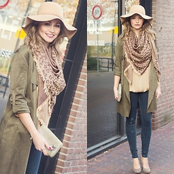 Fashion Statements By Q - Beige Hat, Leopard Silk Scarf, Quty Fashion Green Suede, Quty Fashion Beige Blouse, Zara Jeans - For The Love of Autumn