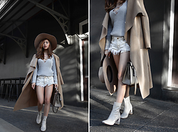 Willabelle Ong - Montana Mirage Wide Brim Fedora Hat, Waterfall Wrap Trench Coat, Missguided Grey Lace Up Ribbed Knit Sweater, Patent Leather Boots With Perspex Heel, One Teaspoon Distressed Denim Shorts - Grey
