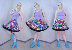 Suzi West - Forever 21 Fringe Earrings, Rave City Vintage 1990s Club Top, Forever 21 Graffiti Print Skater Skirt, Leg Avenue Crinoline, Bumper Lita Boots - 11 March 2016