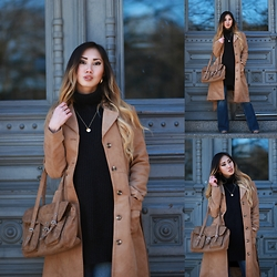 Louise Xin - H&M Suede Coat, Monki Polo Knitted Sweater, Monki Flare Jeans, Jane Koenig Love Tag - 70's bitch