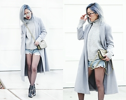 Aika Y - Sheinside Long Grey Coat, Zara Turtleneck Sweater, One Teaspoon Cutoff Denim Shorts, Kohl's Sheer Tights, Jeffrey Campbell Shoes Killer Ankle Boots, No Weekends Mirrored Sunnies - Grey Story