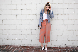 Nineteen He - Brandy Melville Usa Denim Jacket, Topshop Cropped Cami, Urban Outfitters Culottes, Topshop Shoes - Spring look