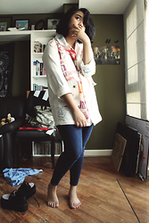 Gyanna Yumping - The Artisan Flour Sack Strapped Jacket, Topshop Blue Denim Leigh Jeans, Androgyne Manila Checkered Platform Creepers - Lostmyhead