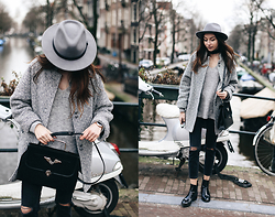 Bea G - Coat, Bag, Shoes, Hat, Jeans - Quiet Stroll In Amsterdam