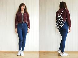 Maria Station - Obey Leather Jacket, Topshop High Waist Jeans - Burgundy leather jacket