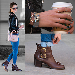 Julie R - Zapa Black Quilted Leather Jacket, Sam Edelman Brown Buckle Ankle Boots, Steve Madden Pink Studded Bag - The Satellites are Falling