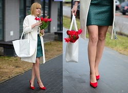 Fasonique - H&M White Coat, Handmade Green Skirt, Brilu Red Heels - Spring look