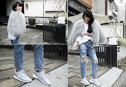 MillyQ Chung - Charlotte Simone Candyfloss Cropped Sleeve Shearling Bomber Jacket, Nike Roshe One Flyknit Sneakers - Let's get sporty and remain chic!