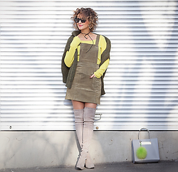 Galant-Girl Ellena - Asos Pinafore Dress, Stuart Weitzman Suede Over The Knee Boots, Balenciaga Shopper Bag - Khaki Mode.