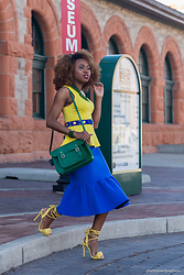 Louisa Moje - House Of Karis Clothiers Green Beaded Necklace, Sold Out (Similar) Yellow Sleeveless Peplum Top, Escada Blue Studded Belt, Cambridge Satchel Green Crossbody, Asos Blue Peplum Skirt, Yellow Lace Up Fringe Sandals - Analogous Colors