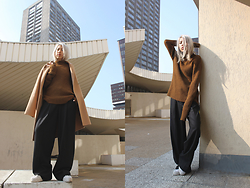 Candy Rosie - Theory Sweater, Theory Coat, Theory Pants, No Name Sneakers - THEORY
