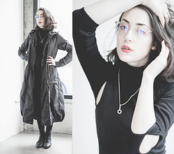 Ama Hatheway - Cradle Jewelry, Vintage Mock Turtle Neck Dress, Radish Underground Black Elbowless Ballet Shrug, Polette E Brooklyn Trans, Rundholz Rain Jacket - Honestly