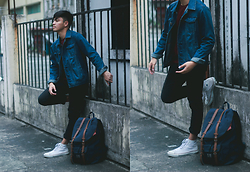 Andre Tan - Forever 21 Denim Jacket, H&M Jeans, Converse Sneakers, Herschel Little America Backpack - March 19, 2016